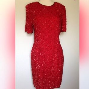 Vintage Stenay Red Silk and Sequin dress 12